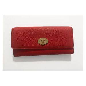 Red Coach Crossgrain Leather Wallet